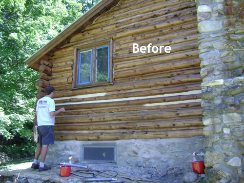 how to stain cabins than top absorbed is applied and logs more caulk your staining be where article wide areas log chinking articles cabin the water checks should of namely any inch